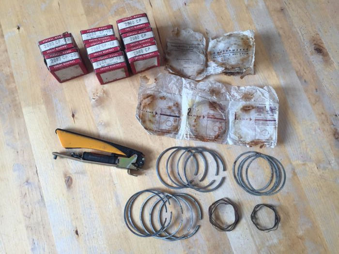 Volkswagen Beetle Type 1 parts: SWF semaphore indicator light, Goetze piston rings, Federal Mogul rod bearings