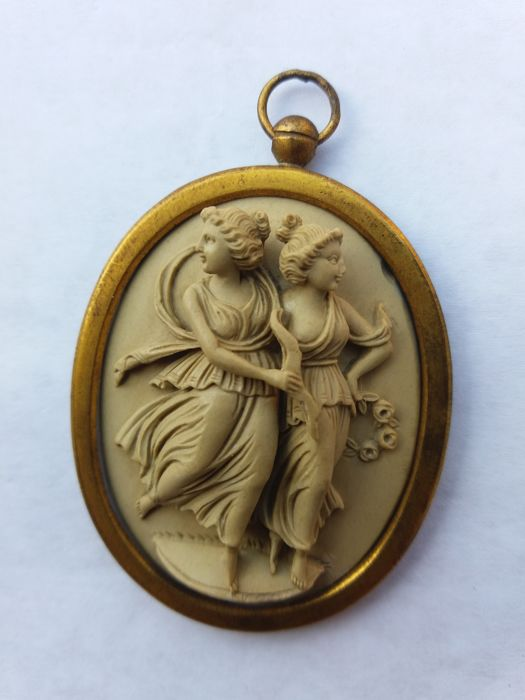 Cameo in lava stone, set in brass, late 19th Century, manufactured in South Italy (Naples)