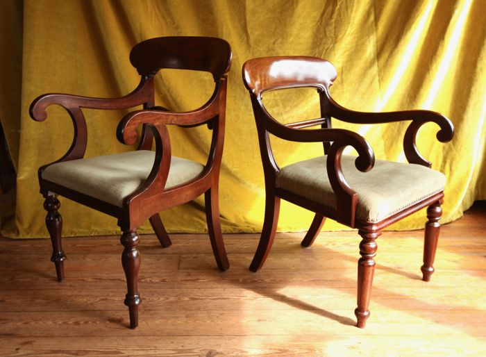 Biedermeier, pair of mahogany armchairs - the Netherlands - 1860