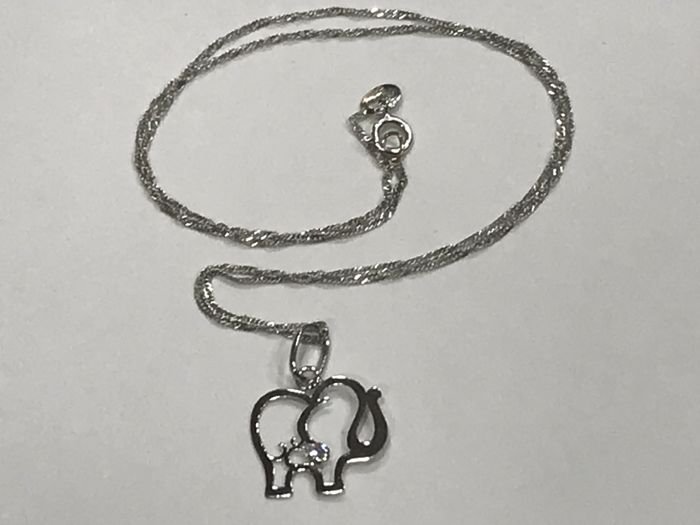 18 kt white gold choker with lucky elephant pendant no reserve 18 kt white gold choker with lucky elephant pendant no reserve aloadofball Choice Image