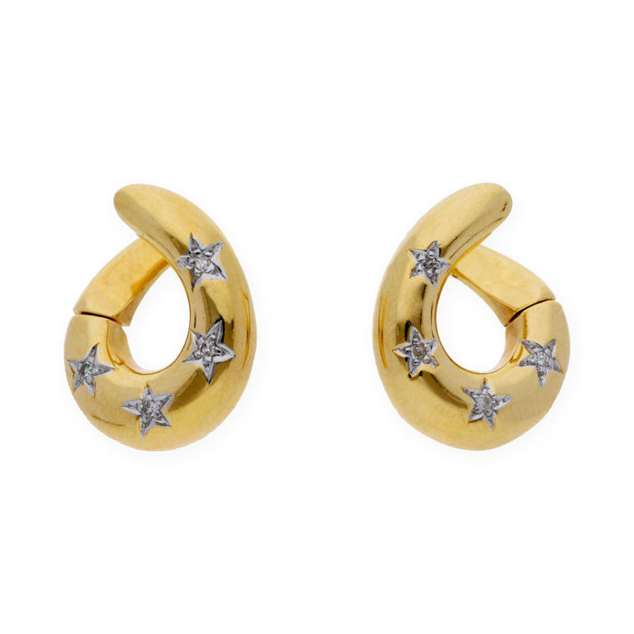 18 kt/750 yellow gold - Earrings - Brilliant cut diamonds - Earring height: 19.70 mm (approx.)