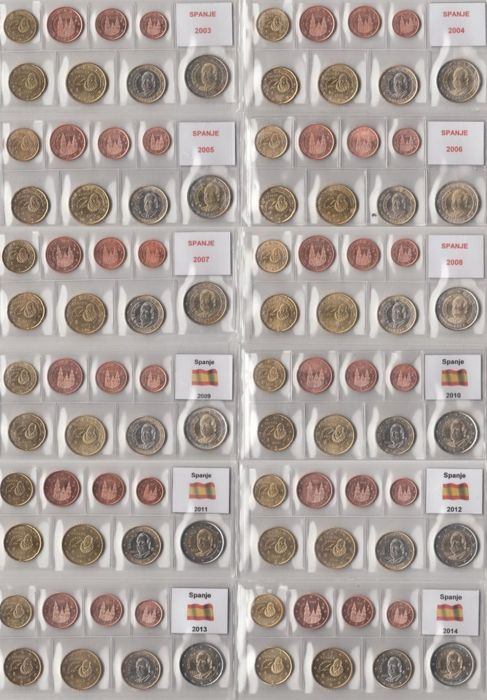 Spain - Year collections of Euro coins 2003 through 2014, complete