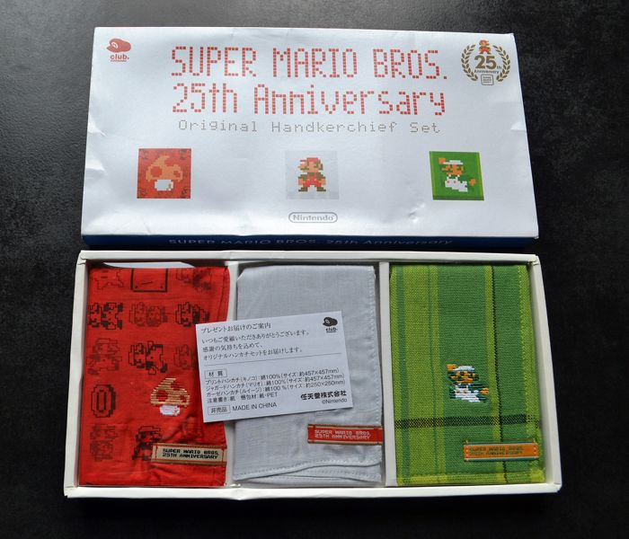 Super Mario Bros 25th Anniversary Handkerchief Set - Club Nintendo Japan