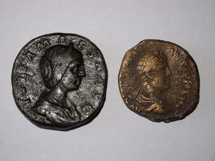 Roman Empire - Sestertius of Julia Maesa (218-224/5), mint of Rome and AE of Emperor Elagabalus (218-222), mint of Cappadocia (2x)