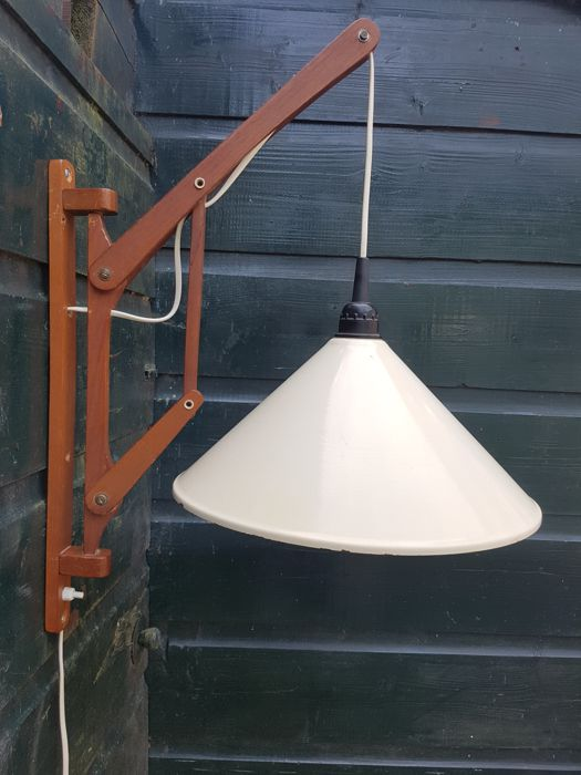 Designer unknown - vintage wooden hinged wall lamp with enamel shade
