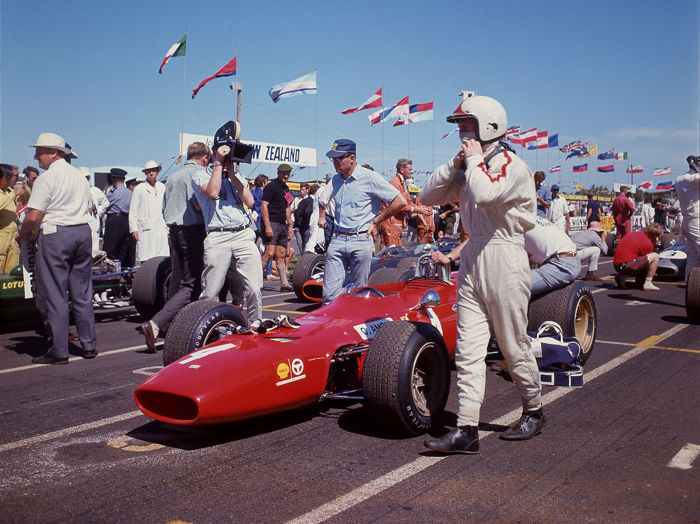 1968 Chris Amon Tasman Series Ferrari   colour photograph 54cm x44 cm.