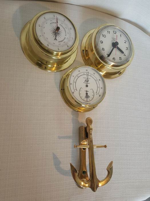 Four Volume Set Of Brass Ship S Clock Barometer Thermometer And