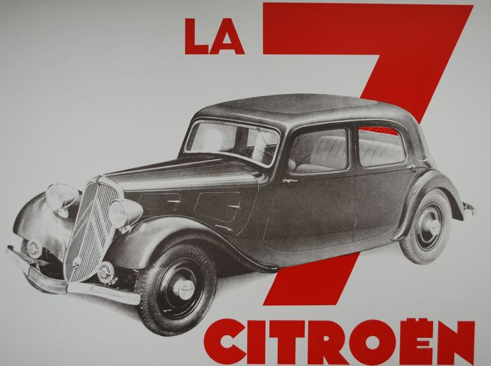 Poster - Citroën - Traction Avant 7CV - 1980