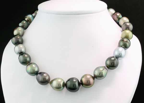 Tahitian pearl necklace multicolour 11.0 to 14.4 mm - NO Reserve Price