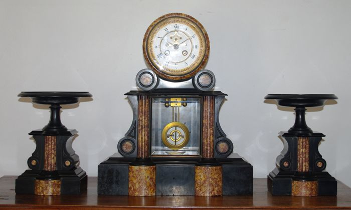 Large French Mantel clock with two coupes - Marble - Brocot escapement - Period 1880