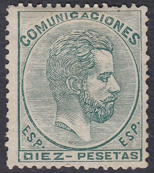 Spain 1872 - Amadeo I. 10 Pesetas green - Edifil 129