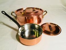 Professional very large oval copper cooking pot with lid and sauteuse with lid — tinned inside — marked L.  LECELLIER. VILLEDIEU Made in France