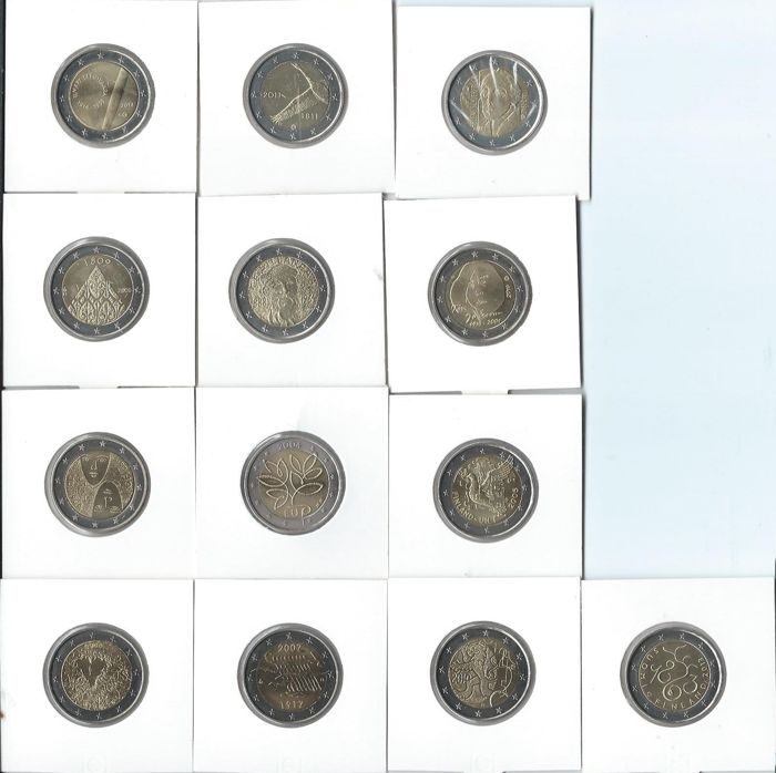Finland and Spain - 2 Euro 2004/2014 Occasional coins (19 items)