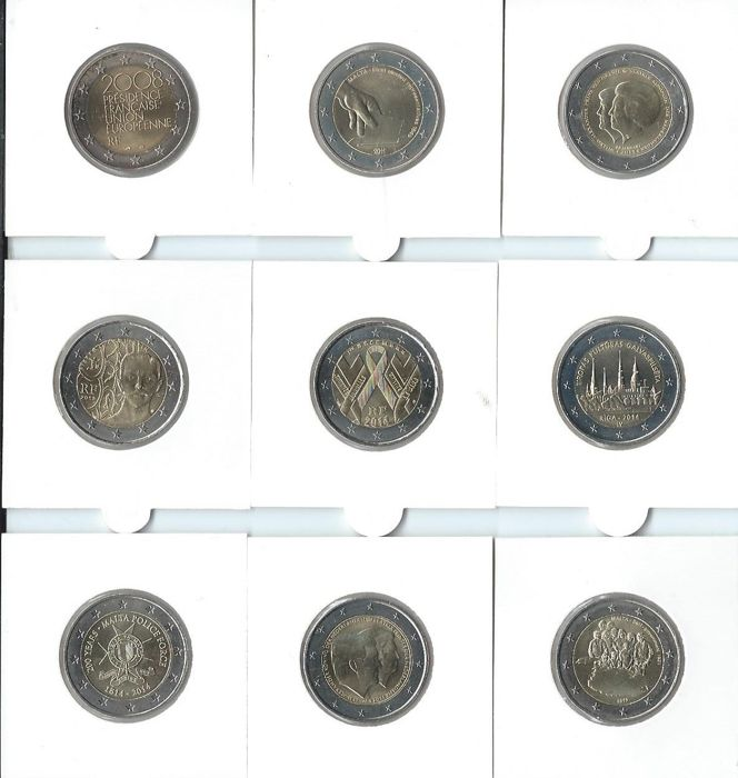 The Netherlands/France/Malta/Monaco/Latvia - 2 Euro coins 2008-2014 (17 occasional coins)