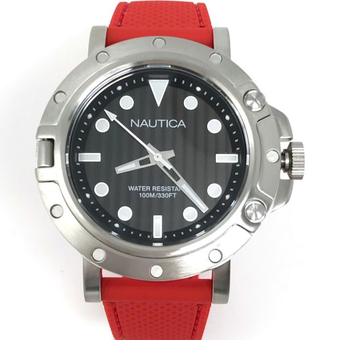 Nautica - 44 mm Black Dial - Red Silicone Strap - NAD12549G - Homme - NEW