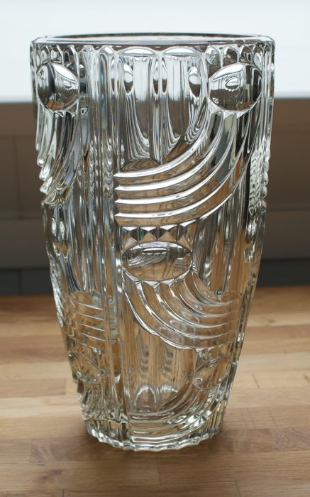 Art Deco crystal vase with geometric decor