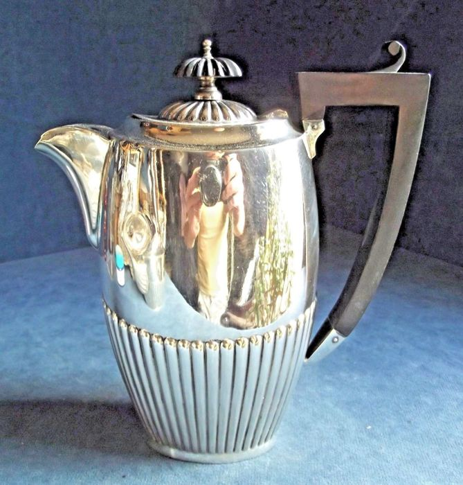 Antique jug with grooved decoration - silver plated - by John Chatterley - c. 1900