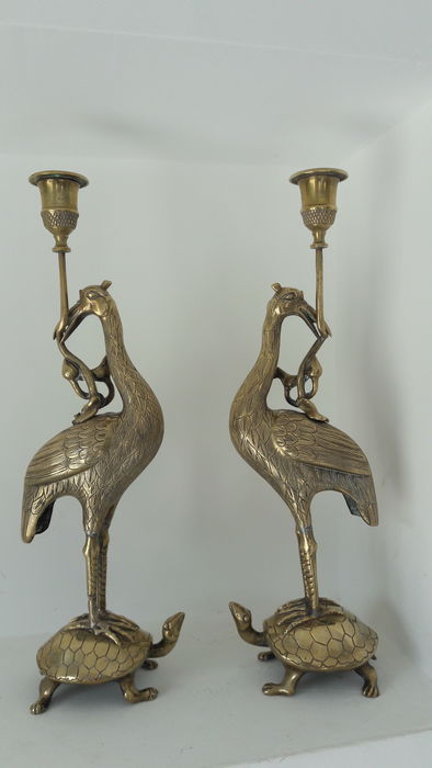 Pair of bronze candlesticks, crane on turtle, China or Indochina, circa 1900