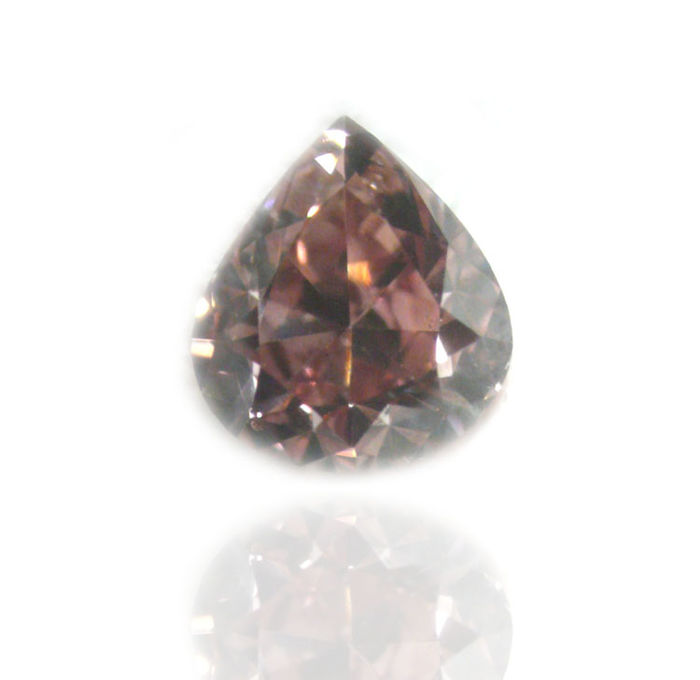 Unique Pear Diamond Natural Fancy Deep Brownish Orangy Pink 0.14 carat