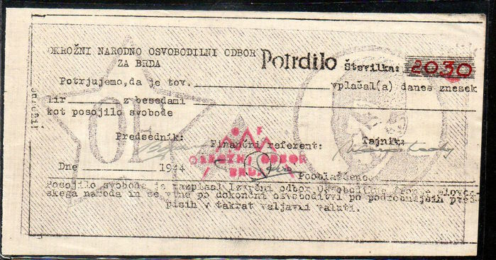 Yugoslavia - 10.000 lire 1944 - Pick S 157 - remainder