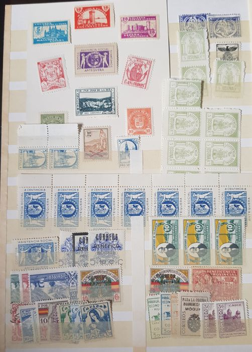 Spain 1936/1939 - Set of stamps and miniature sheets from the Civil War