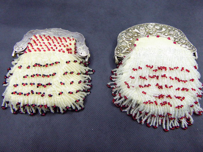 Two silver purses with beads, the Netherlands, late 19th century