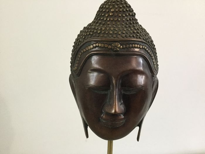 Bronze Buddha's head - Thailand - late 20th century (50 cm)