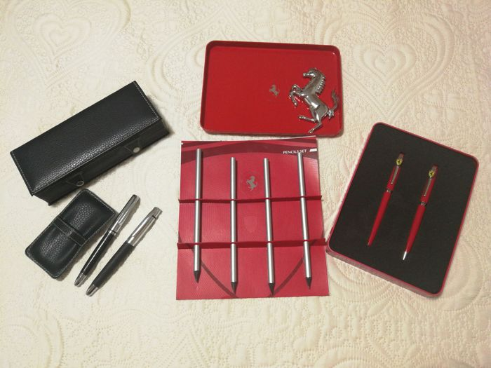 Ferrari - Scuderia Ferrari steel ballpoint pens with case - Set of 4 pencils - Official Product - Pair of 2 fountain pens with case