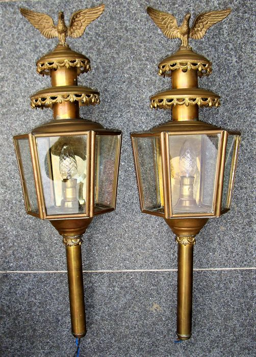 Set of copper carriage lamps with an eagle