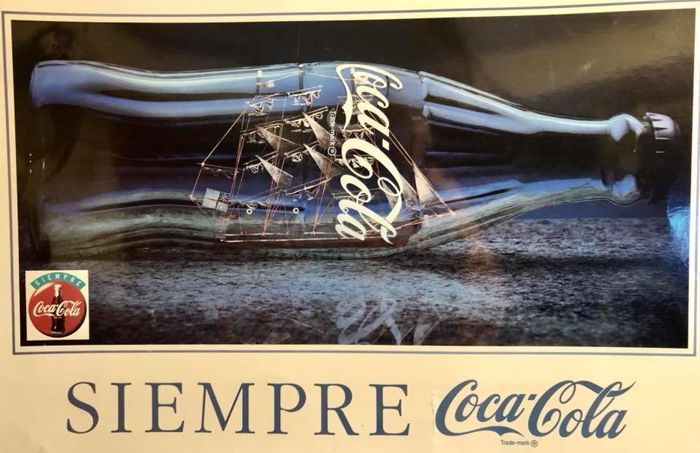 "A , vintage , original , very large , advertising cartel , "" Siempre Coca Cola "" , one of a kind ,  Circa 1970´s . by Coca Cola Company"