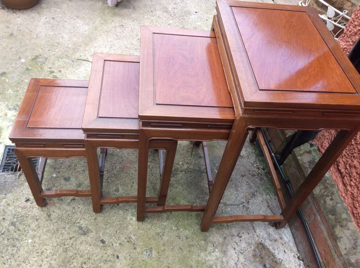 4 Vintage Chinese hard wood quaretto tables from the late Lord Colman Eastate Leicestershire, early 20th century