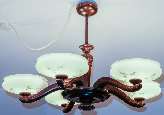 5-arm ceiling chandelier approx. 1930
