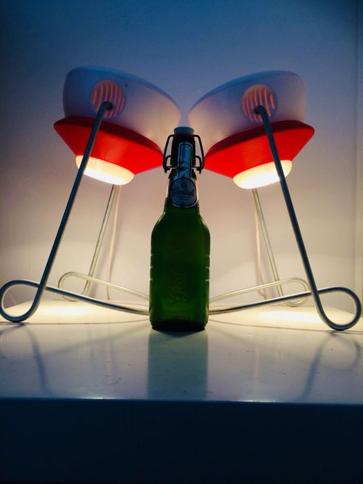 Set van 2 Grolsch Vintage Design Dop / Beugel Lampen **PLOP** - Collectors Item !