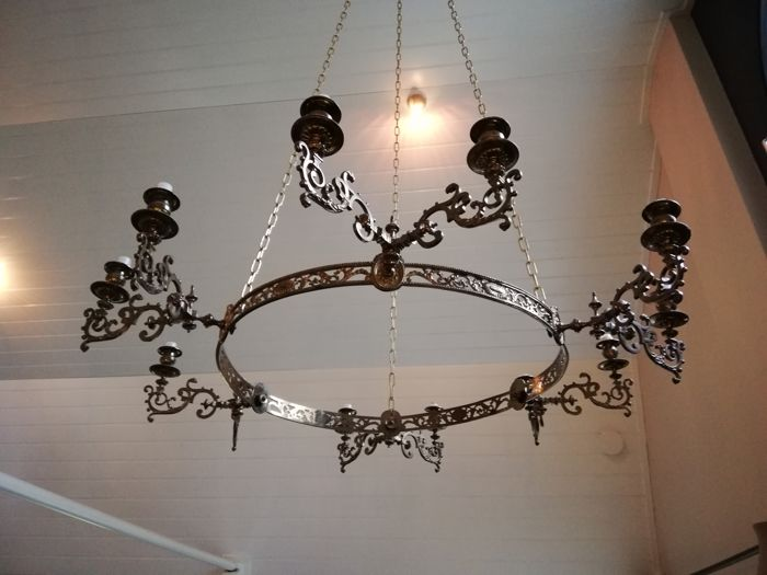 Brass candle chandelier for 12 long candles - the Netherlands/Belgium - circa 1900