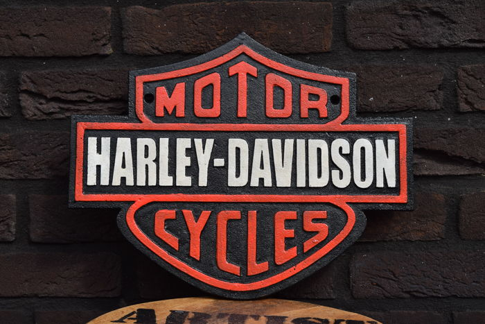 Harley Davidson Sign   Wall Decoration Made Of Cast Iron