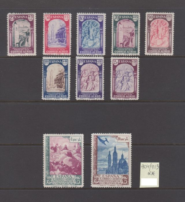 Spain 1940 - Virgen del Pilar. Air mail set - Edifil 904/913