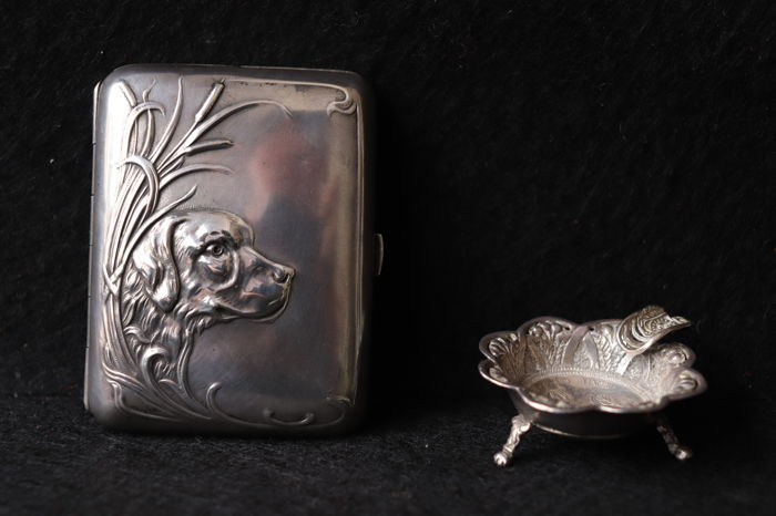 Antique silver , cigarette box and astray  - Portugal 19th century