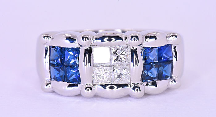 2.05 Ct Sapphires with Diamonds, princess ring ***NO RESERVE price!***