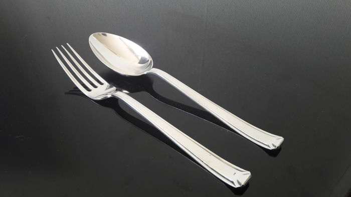 Silver dinner place setting, H. Hooykaas, Schoonhoven, 1934-1935