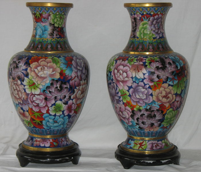 Pair cloisonné vases - China - 2nd half of the 20th century