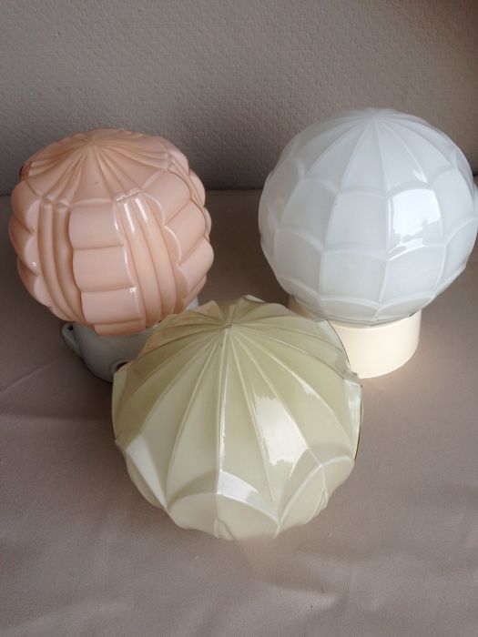 Three gorgeous Art Deco ceiling lamps, circa 1950