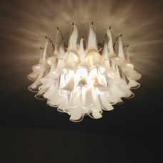 La Murrina - chandelier with clear and white glass - 1970s
