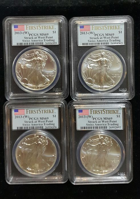 United States - Dollars 2013-W 'Eagle' in PCGS Slabs - 4x 1 oz silver