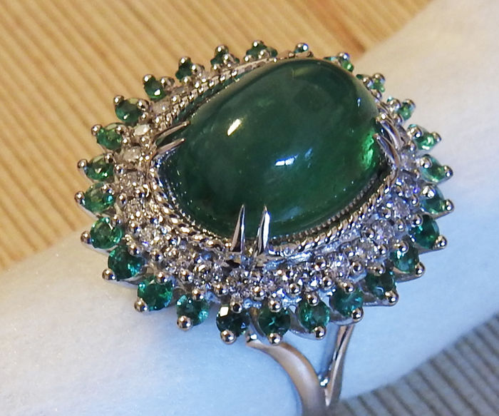 Huge Emerald Cabochon and Diamond Ring