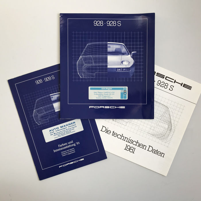 1981 Porsche brochure for 928 with separate data + colour brochures