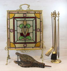 Copper fire screen with stained glass and standard with equipment-bellows