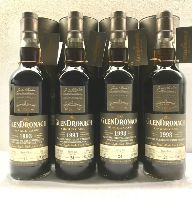 4 bottles - Glendronach 1993 24YO Single Cask (Sister Casks of #653, #654, #655 & #656)