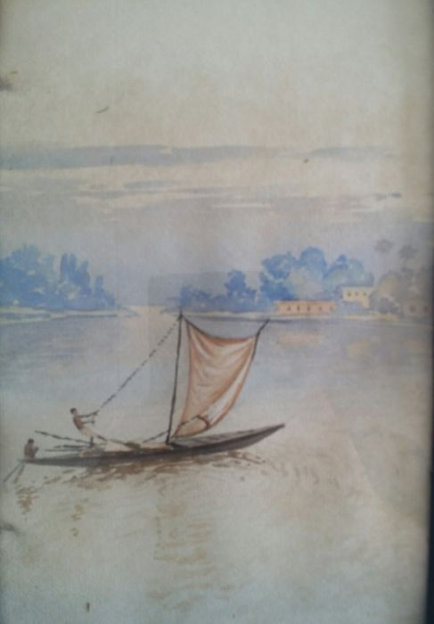 Watercolour Indian school, signed B. Ghose. Sail boat in front of the shore - India - mid 20th century
