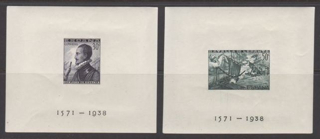 Spain 1938 - Lepanto battle imperforated blocks. Graus and COMEX certification - Edifil 864/865