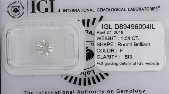 "1.04ct Round Brilliant cut -  F  SI3  (""IDEAL CUT"")"